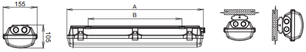 Dimensiones luminarias LED bajo consumo ATEX