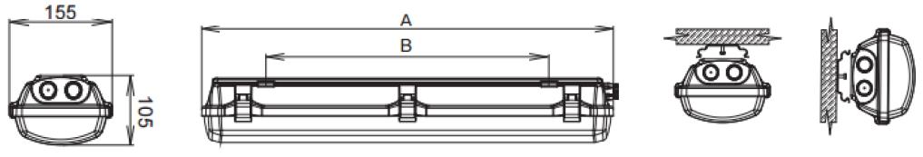 ATEX LED luminaires dimensions
