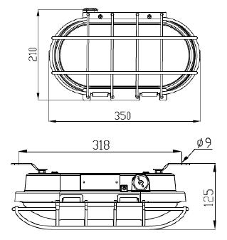 ATEX LED bulkhead dimensions