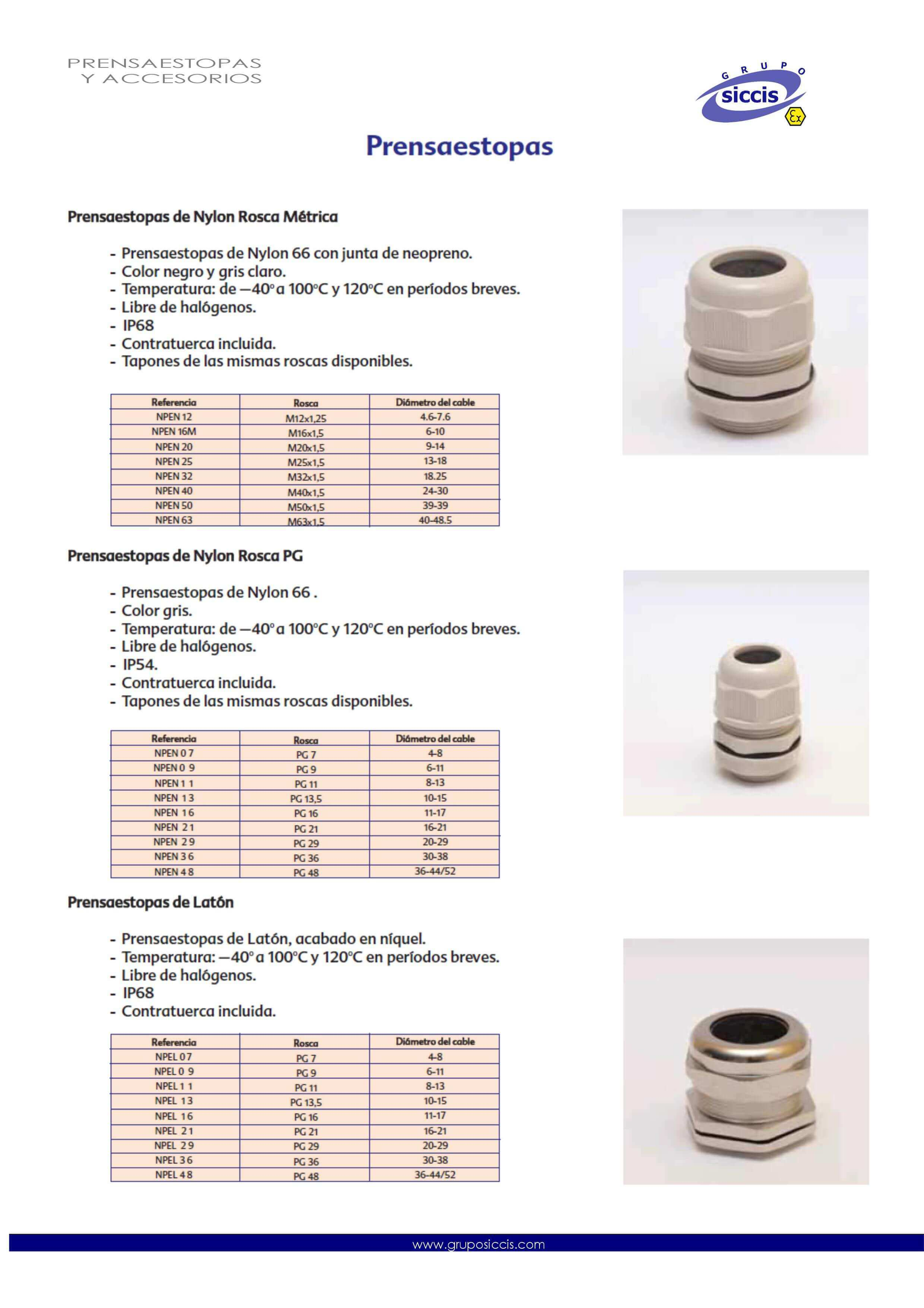 Cable glands, locknuts and gaskets catalog