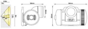 Dimensiones linterna para casco ATEX HT650