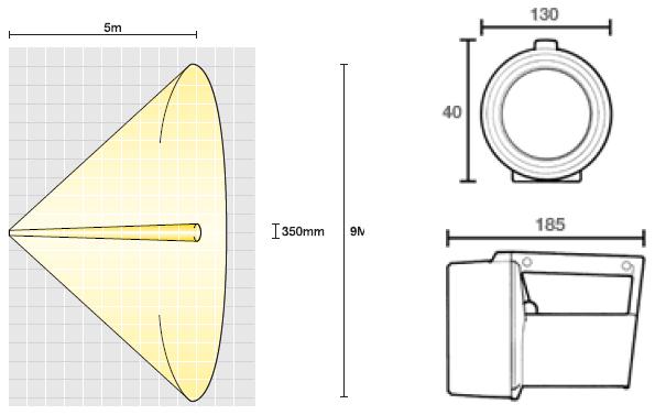 Dimensiones lámpara de mano H-251 LED ATEX