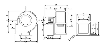ATEX centrifugal fans dimensions
