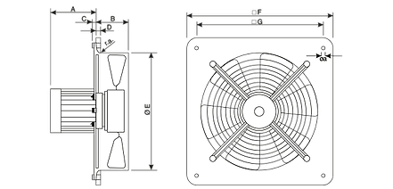 Axial fans dimensions