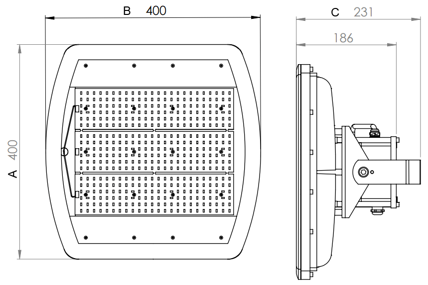 Dimensiones proyector LED ATEX