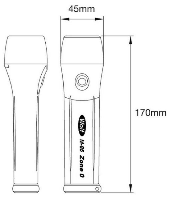 Dimensiones linterna ATEX