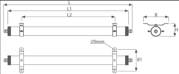Dimensiones luminaria antivandálica